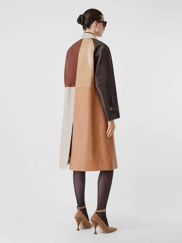 Patchwork Lambskin and Leather Car Coat in Biscuit - Women | Burberry - cell image 2
