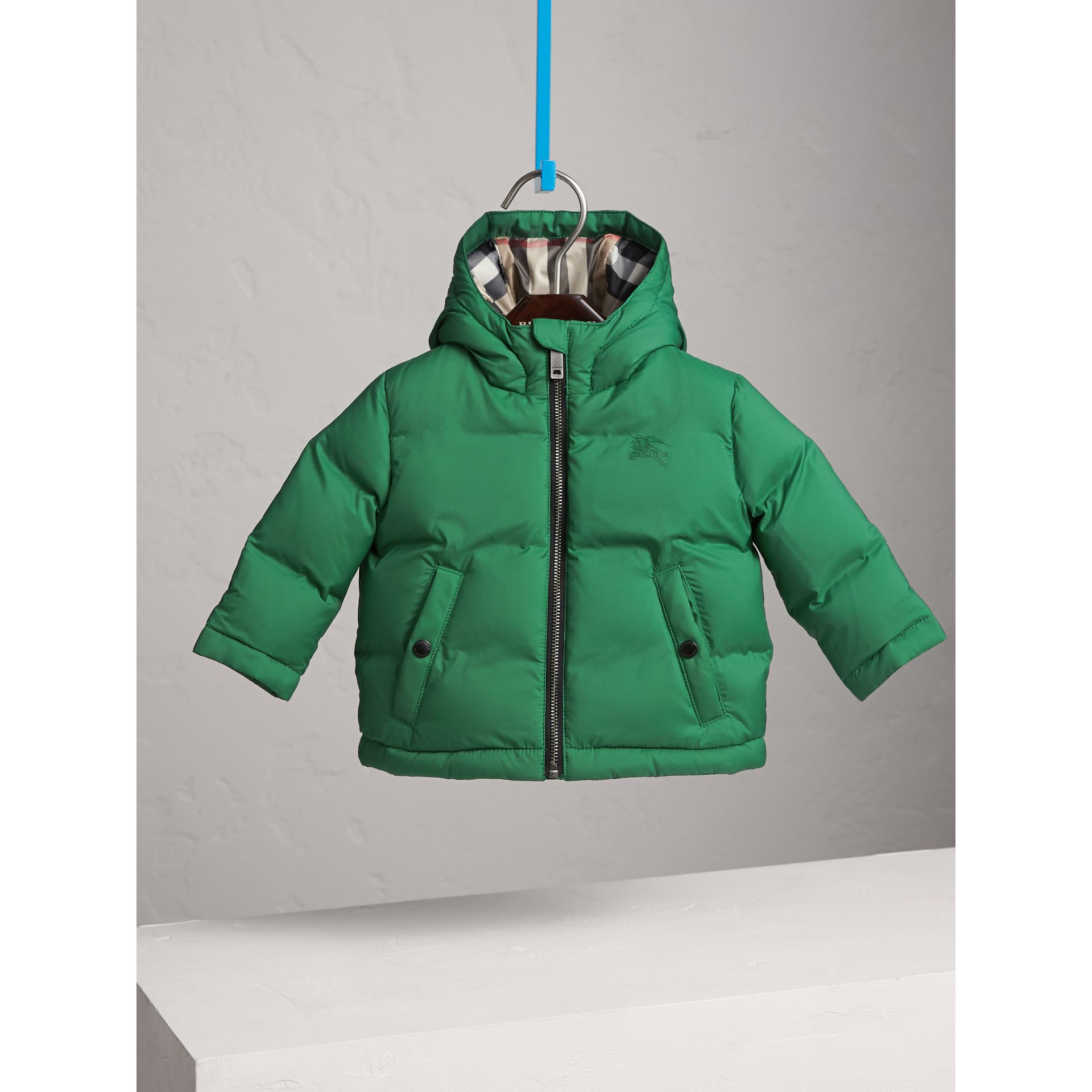 Down-filled Hooded Puffer Jacket in Pigment Green | Burberry - gallery image 3
