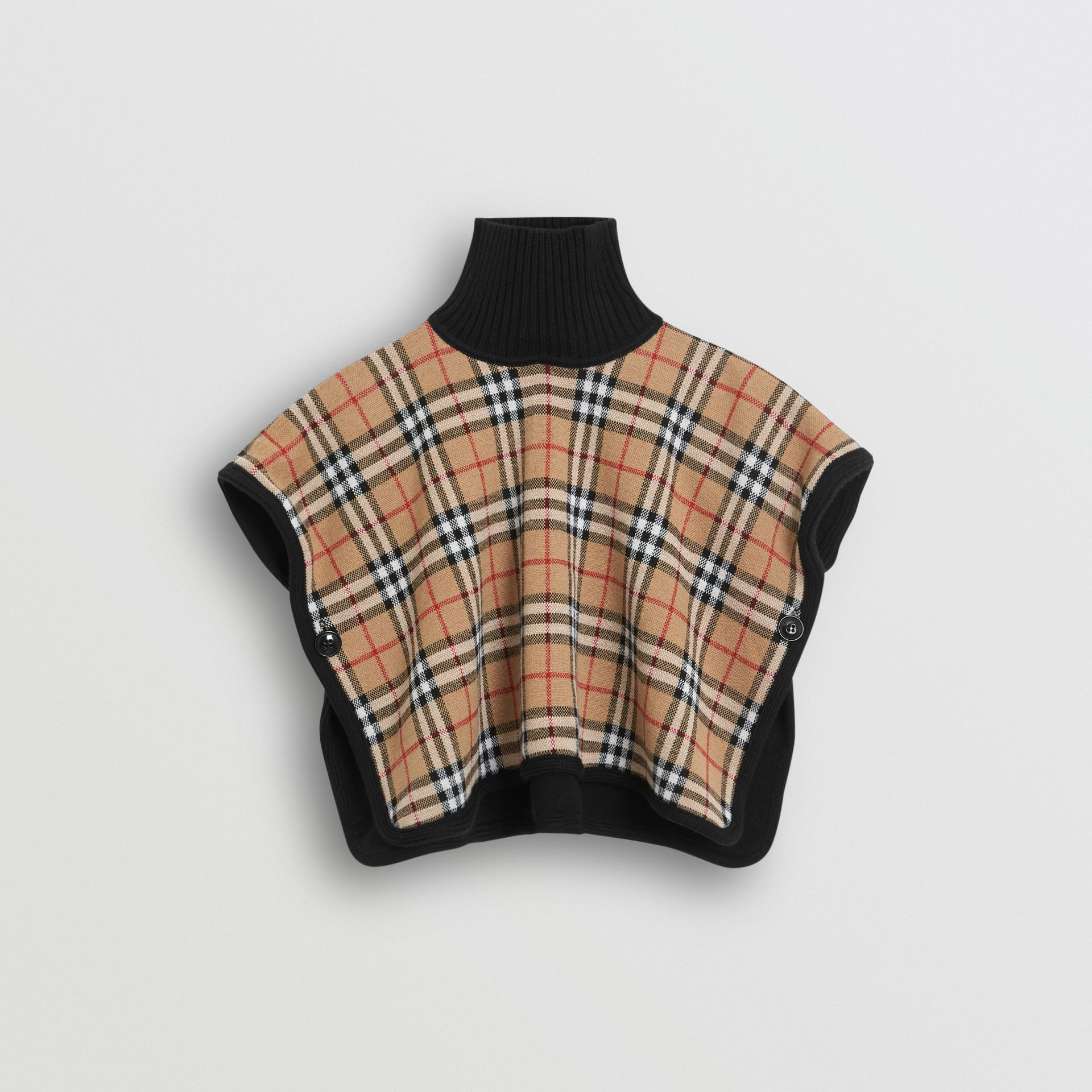 Reversible Vintage Check Merino Wool Jacquard Poncho in Black | Burberry - gallery image 4
