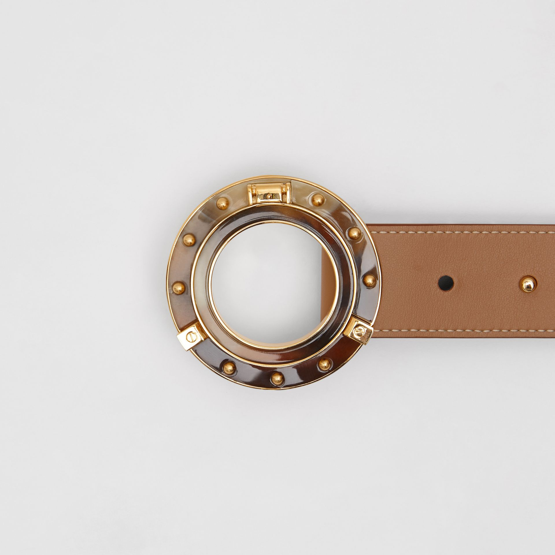 Porthole Buckle Leather Belt in Light Camel - Women | Burberry - gallery image 1
