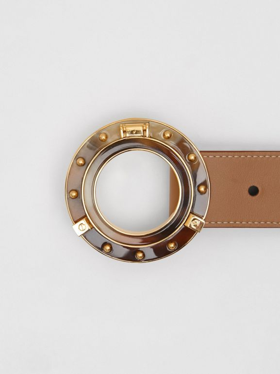 Porthole Buckle Leather Belt in Light Camel - Women | Burberry Australia - cell image 1