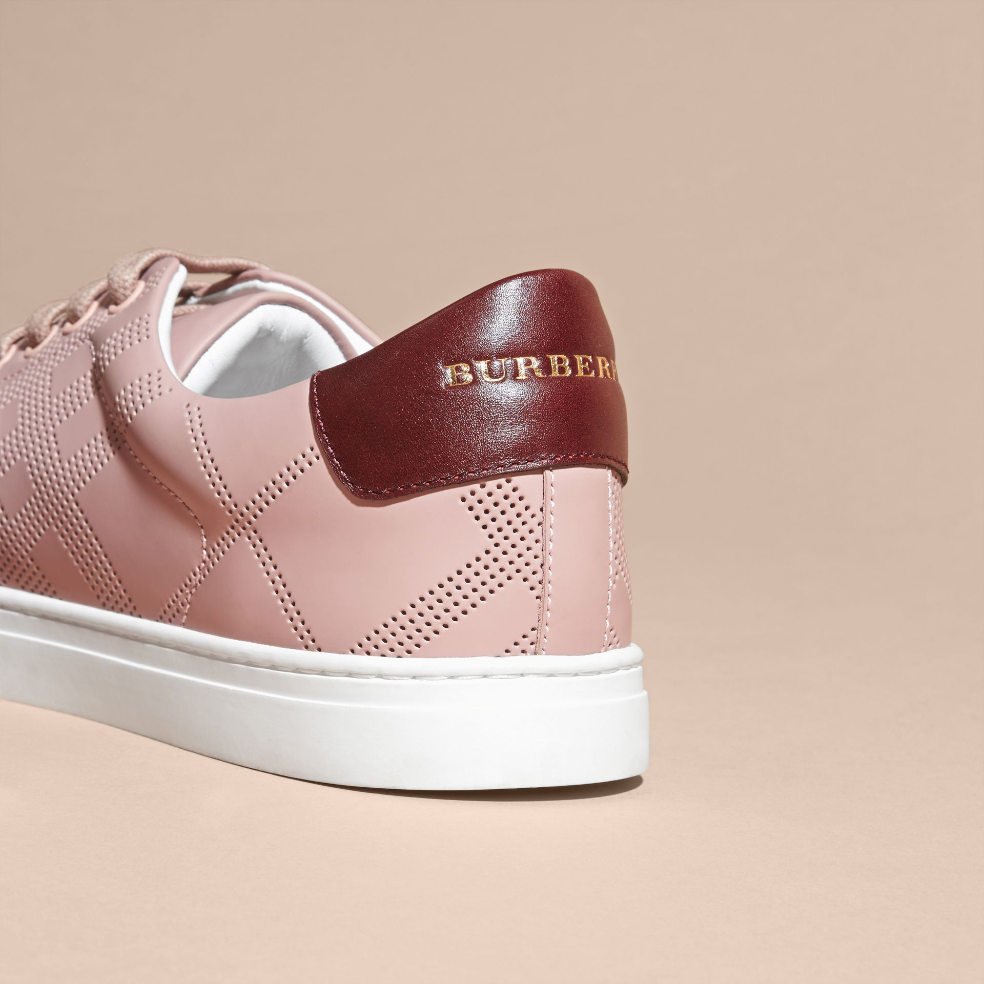 Rose pink/deep claret melange Perforated Check Leather Trainers Rose Pink/deep Claret Melange - gallery image 4