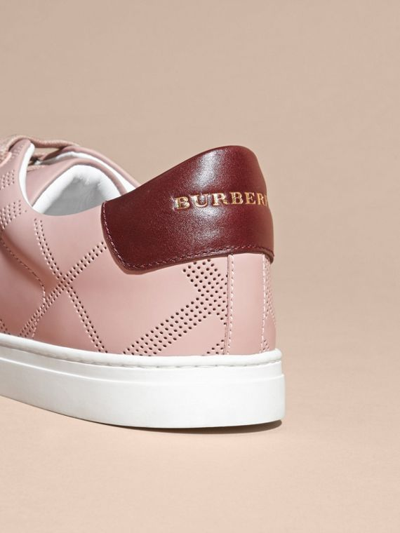 Perforated Check Leather Trainers in Rose Pink/deep Claret Melange - Men | Burberry - cell image 3