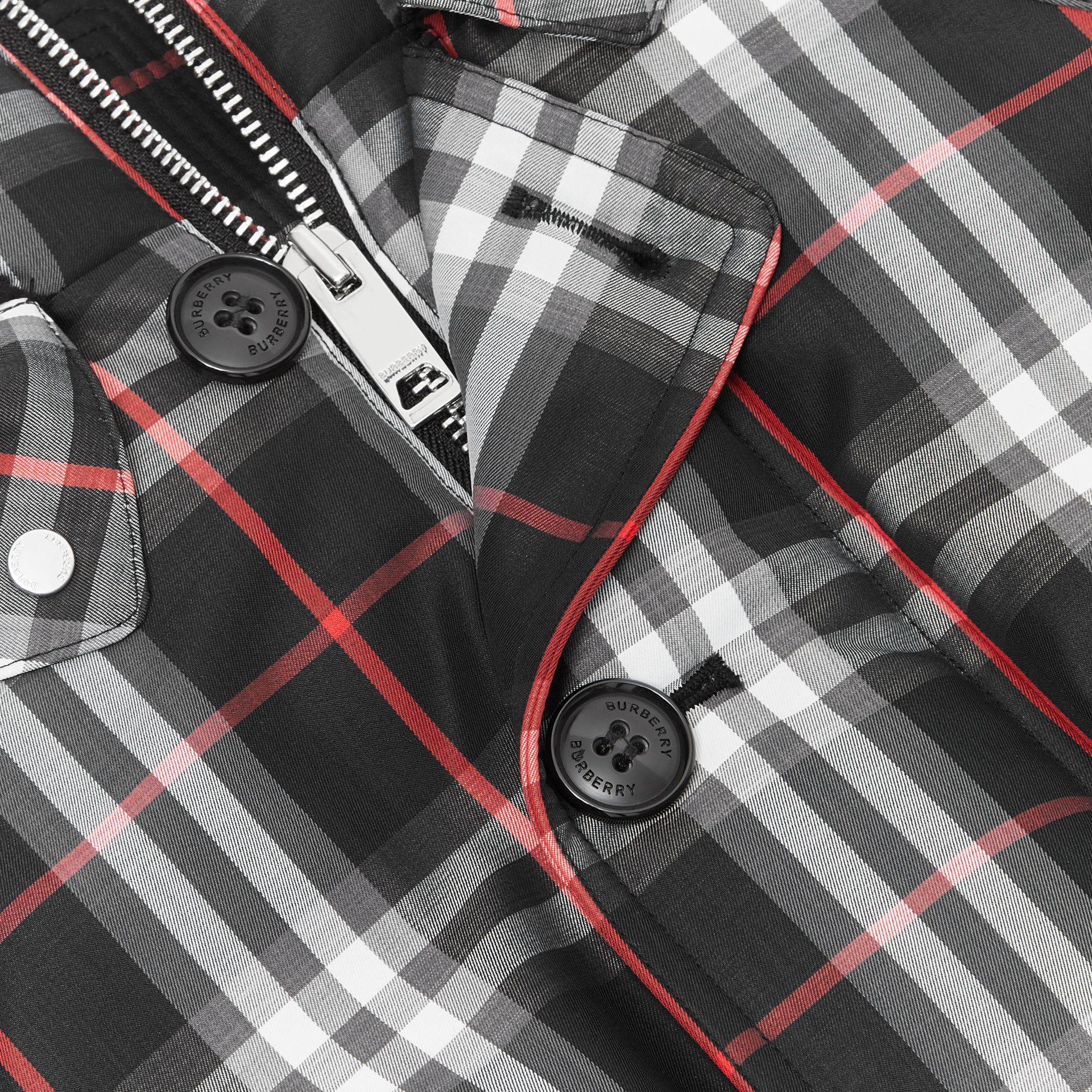 Vintage Check Down-filled Hooded Puffer Jacket in Black | Burberry Australia - gallery image 1