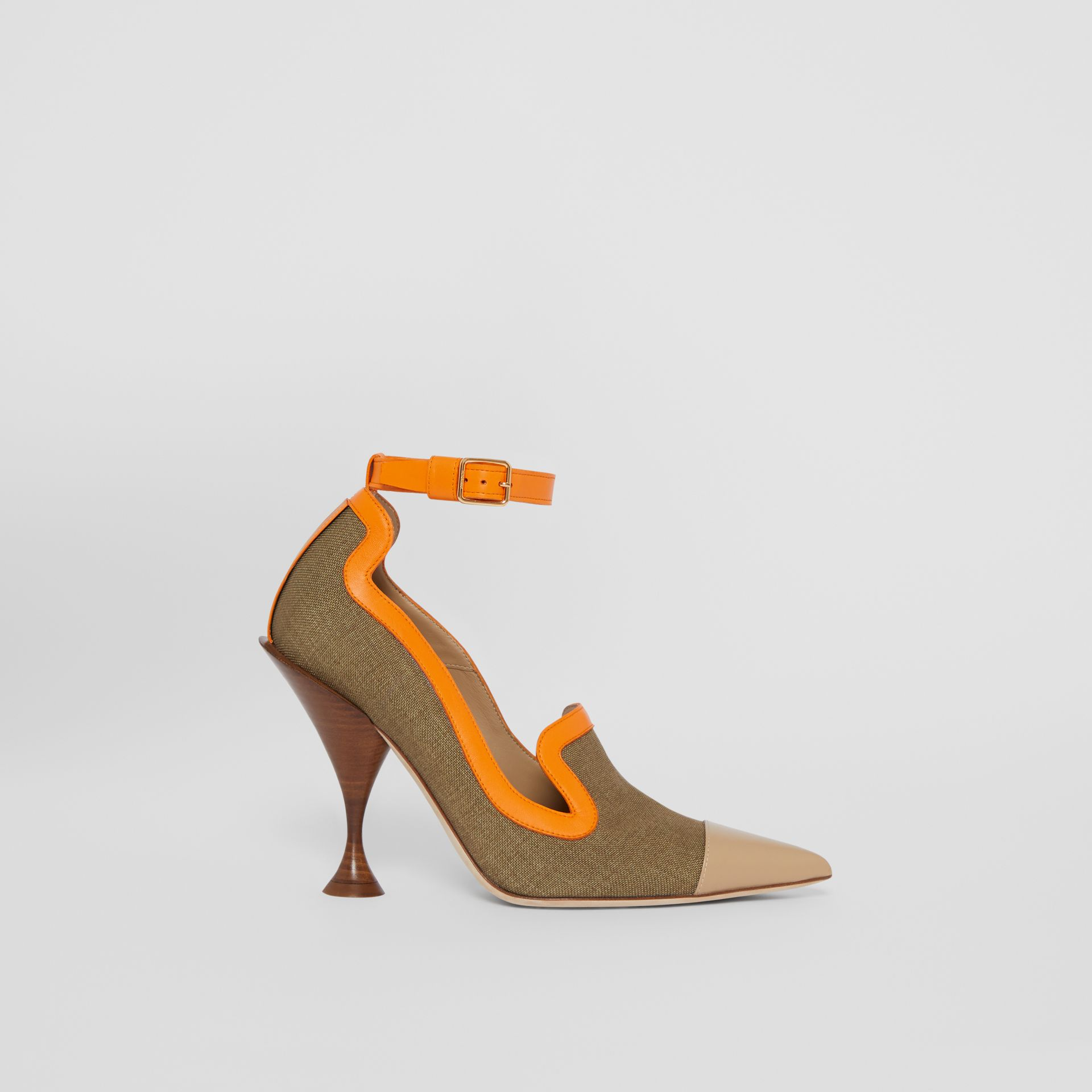 Canvas and Leather Point-toe Pumps in Camel - Women | Burberry Australia - gallery image 5