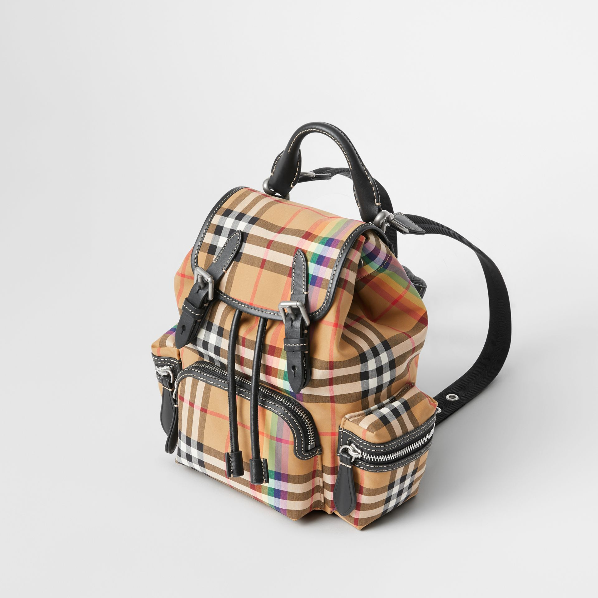 The Small Crossbody Rucksack in Rainbow Vintage Check in Antique Yellow - Women | Burberry United Kingdom - gallery image 2