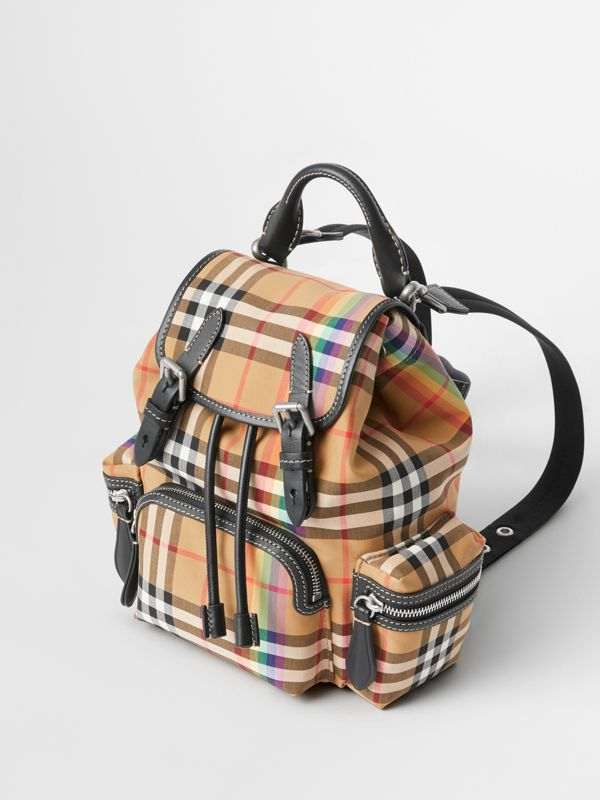 The Small Crossbody Rucksack in Rainbow Vintage Check in Antique Yellow - Women | Burberry United Kingdom - cell image 2