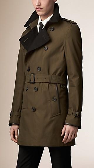 Trench-coat en gabardine de coton avec touches de laine et cachemire