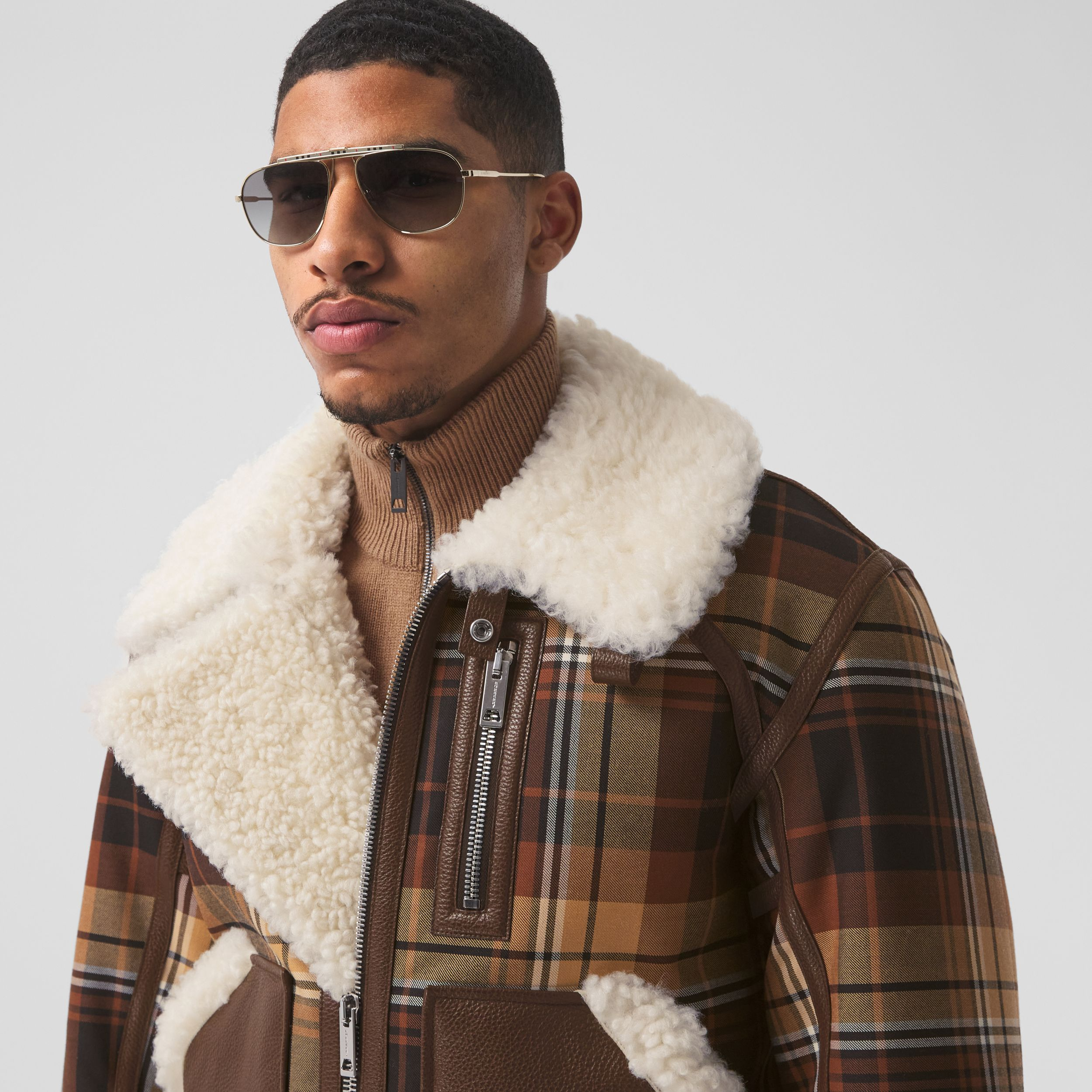 Leather Trim Check Wool and Shearling Flight Jacket in Orange/black - Men | Burberry - 2