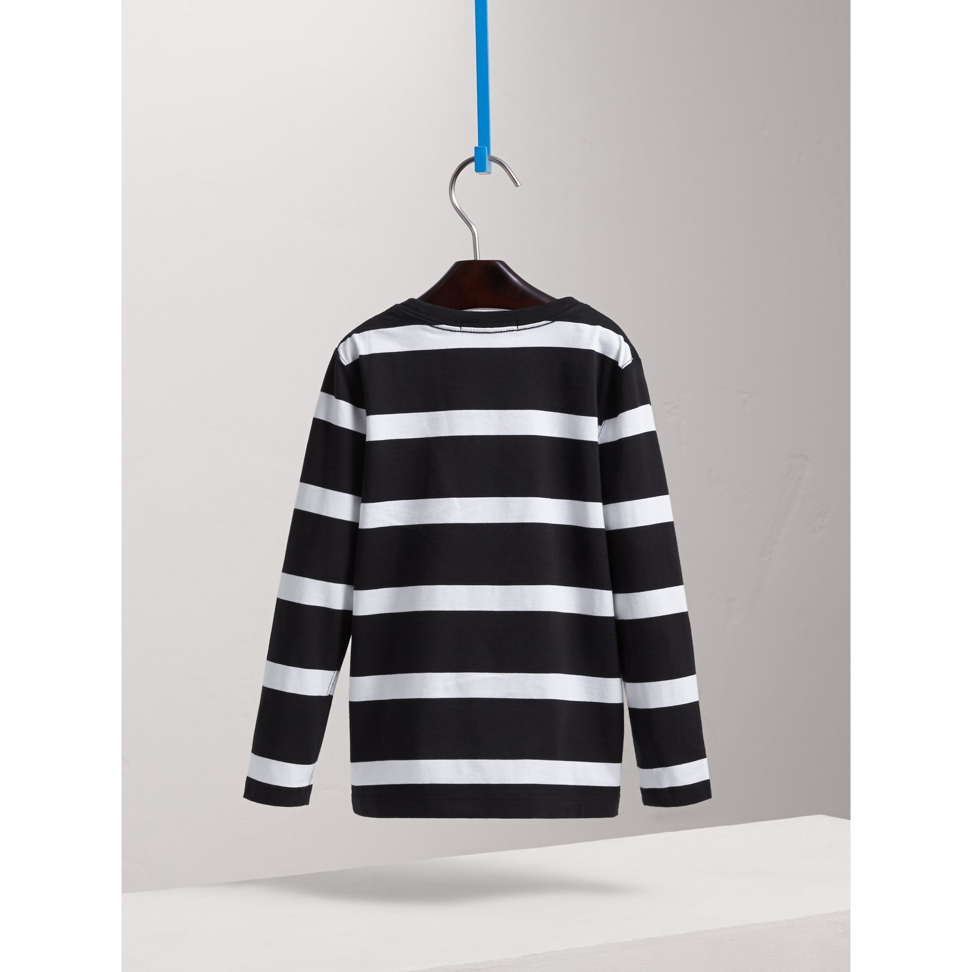 Long-sleeve Striped Cotton T-shirt in Black/white - Boy | Burberry - gallery image 4