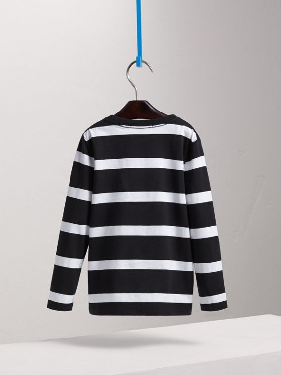 Long-sleeve Striped Cotton T-shirt in Black/white - Boy | Burberry - cell image 3