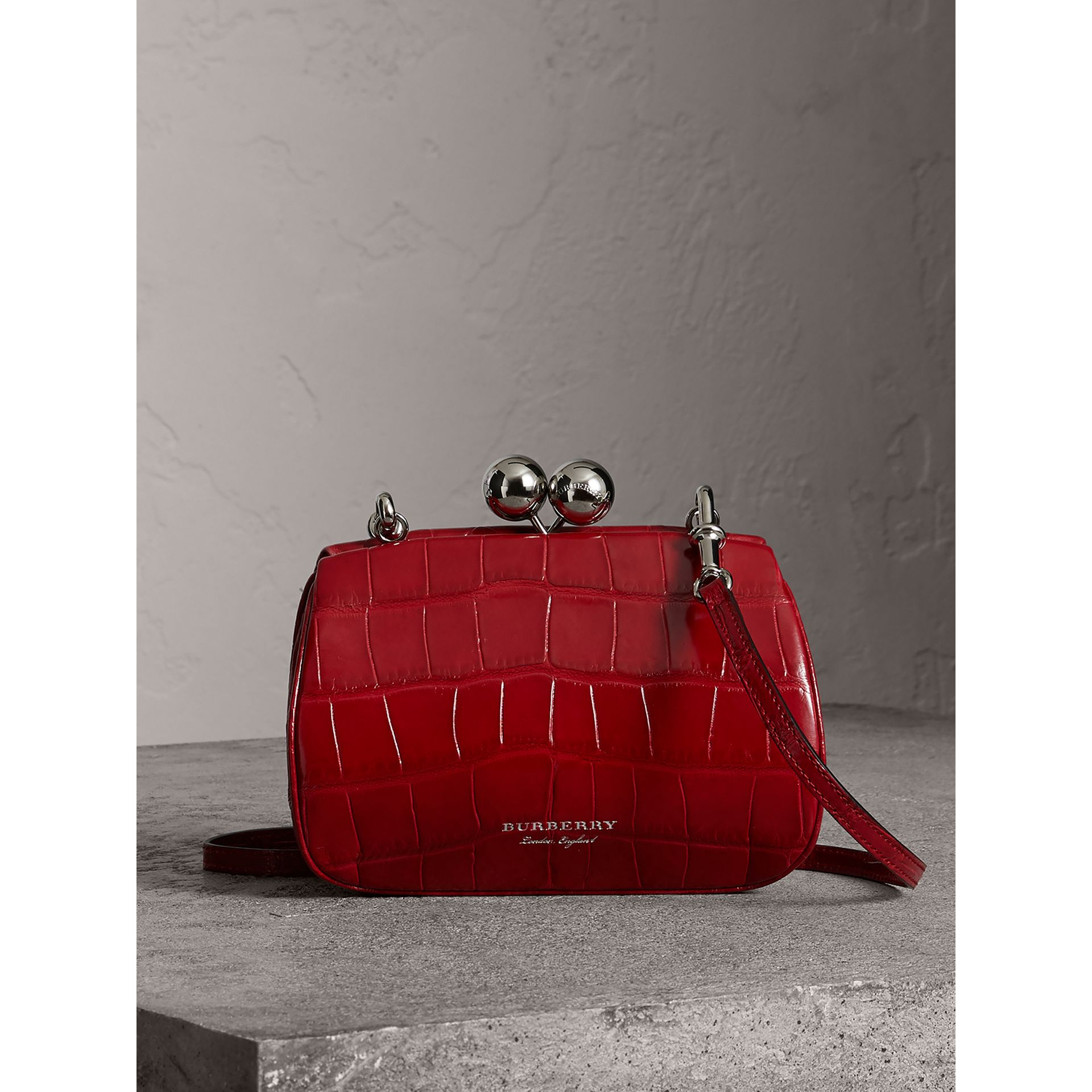 Small Alligator Metal Frame Clutch Bag in Bright Red - Women | Burberry - gallery image 0