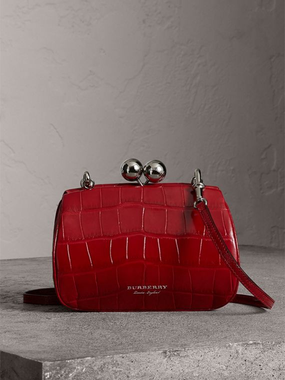 Small Alligator Metal Frame Clutch Bag in Bright Red