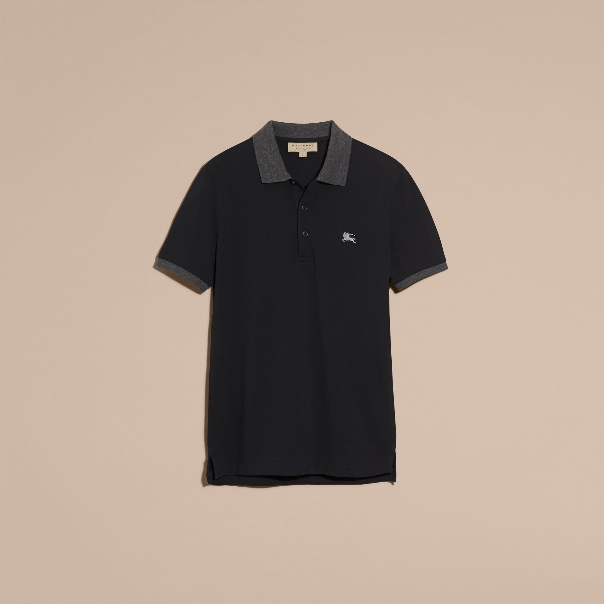 Dark navy Contrast Colour Detail Cotton Piqué Polo Shirt Dark Navy - gallery image 4