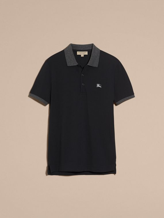 Dark navy Contrast Colour Detail Cotton Piqué Polo Shirt Dark Navy - cell image 3