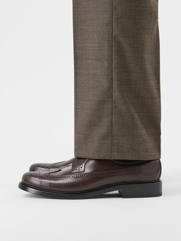 Brogue Detail Leather Derby Shoes in Tan - Men | Burberry United Kingdom - cell image 2