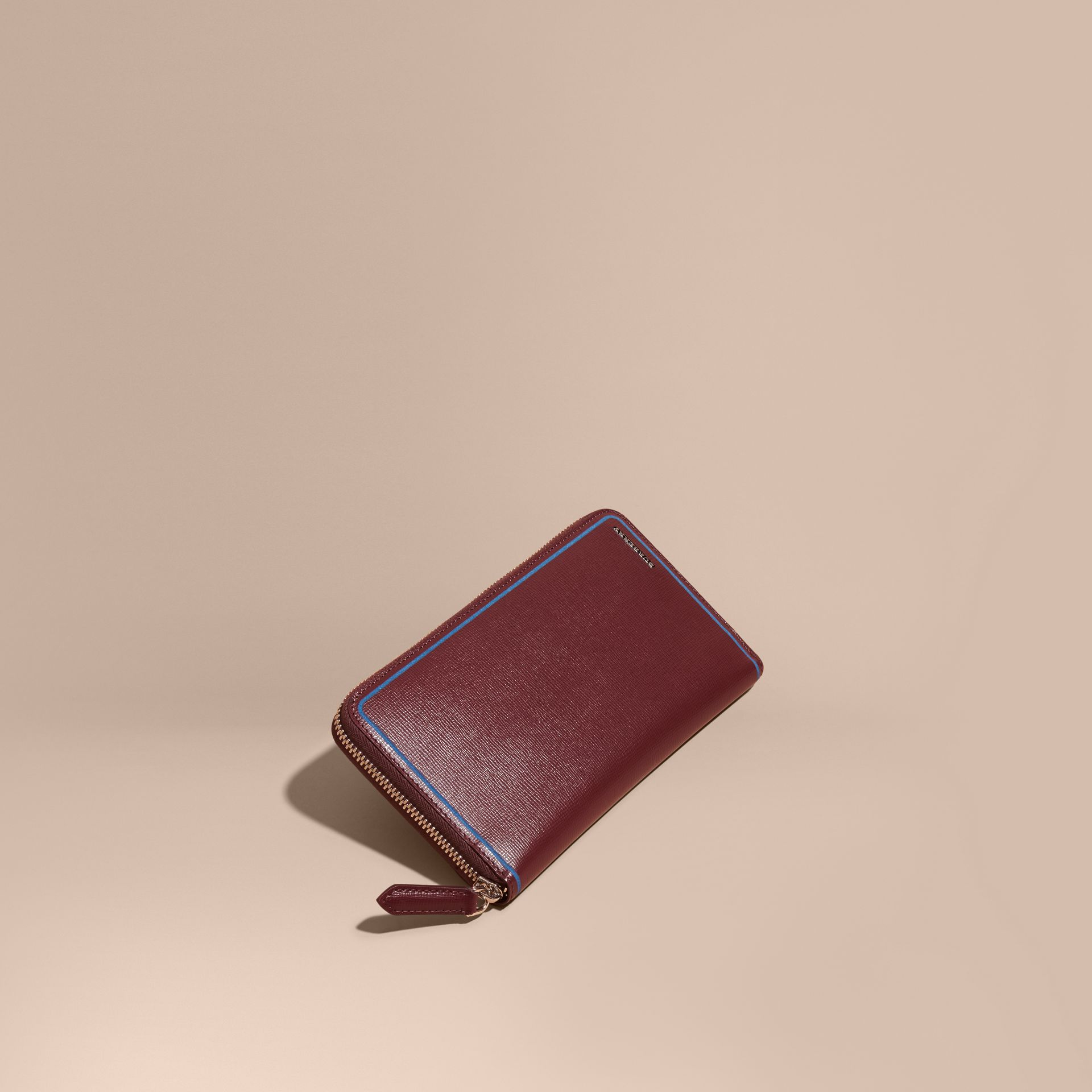 Border Detail London Leather Ziparound Wallet Burgundy Red - gallery image 1
