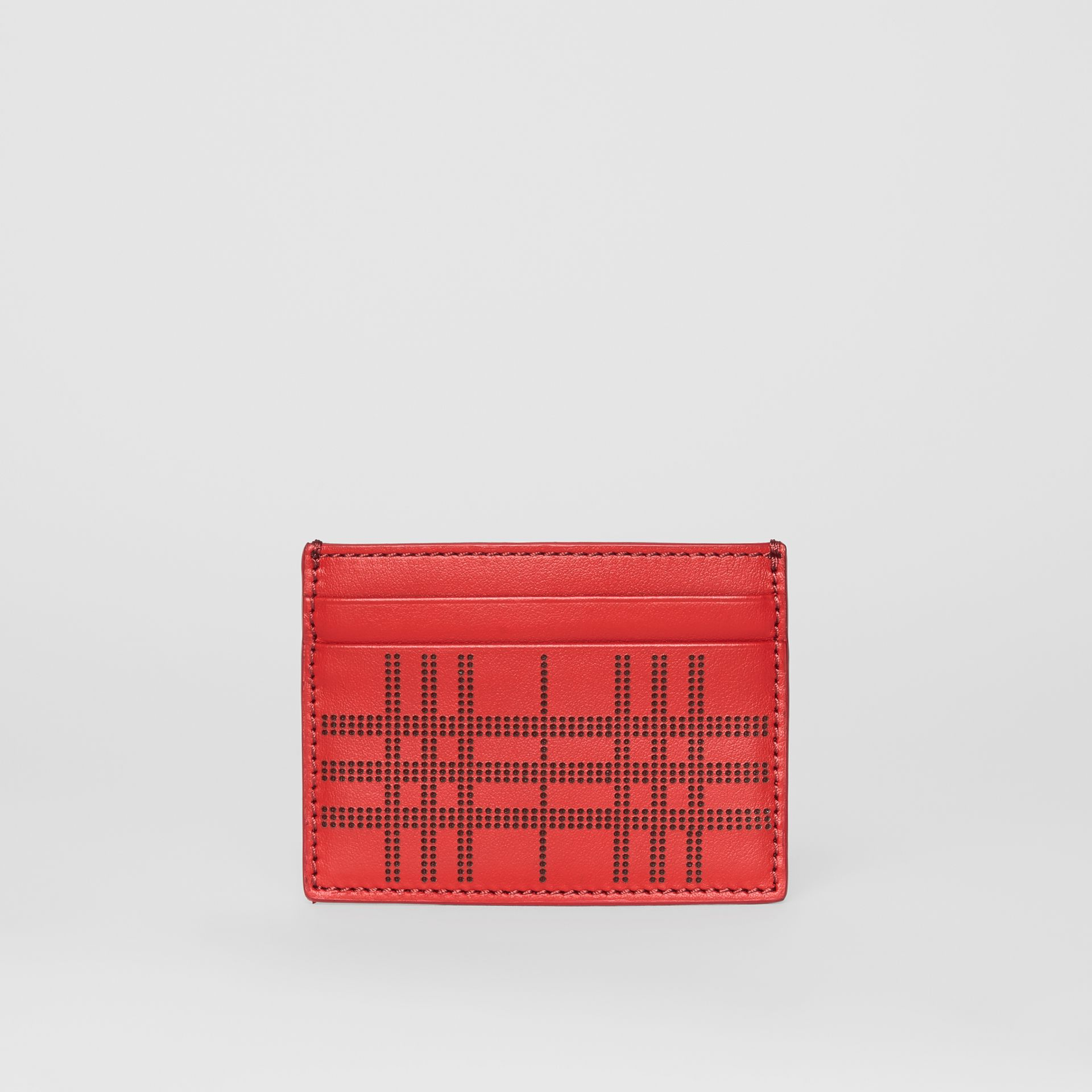 Perforated Check Leather Card Case in Rust Red | Burberry - gallery image 5