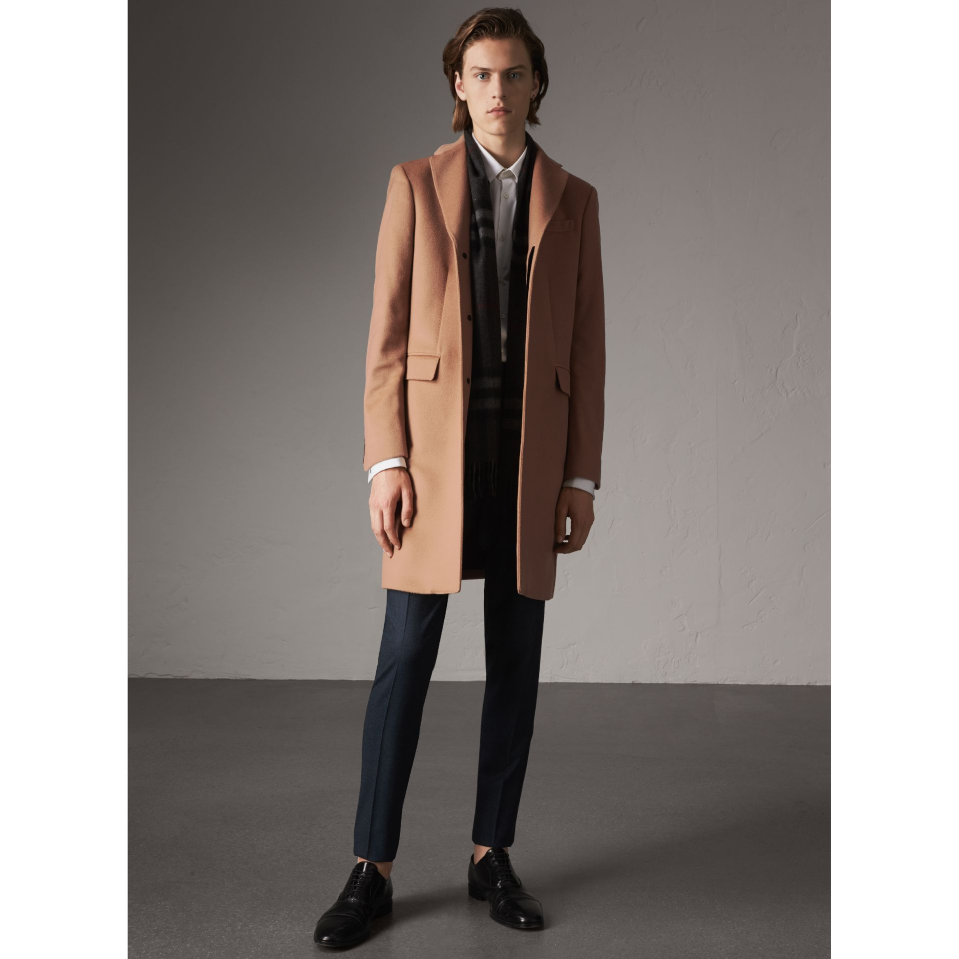 Wool Cashmere Tailored Coat in Camel - Men | Burberry Australia - gallery image 5