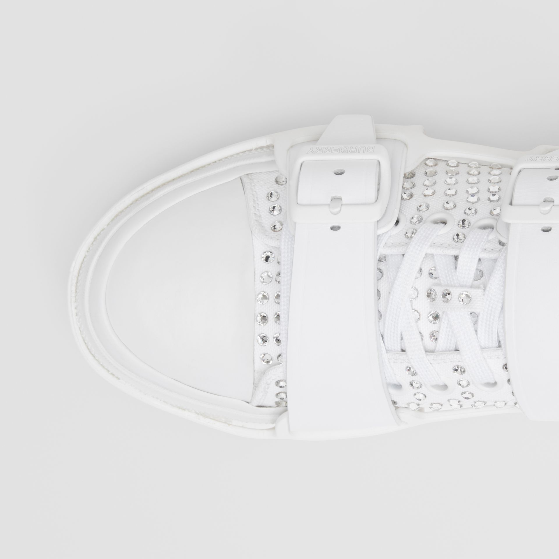 Embellished Cotton and Leather Webb Sneakers in White | Burberry United States - gallery image 1