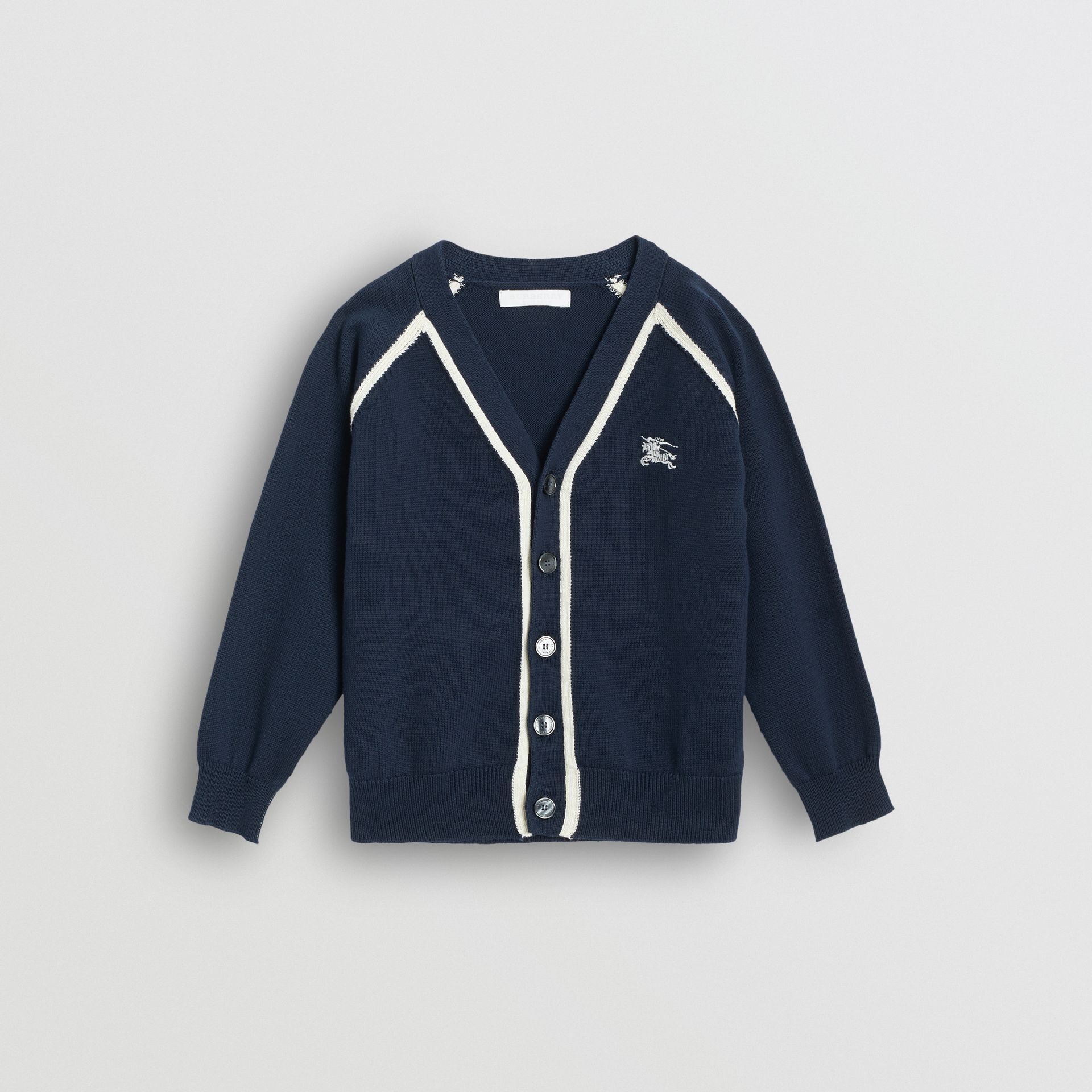 Two-tone Cotton Knit Cardigan in Navy | Burberry - gallery image 0