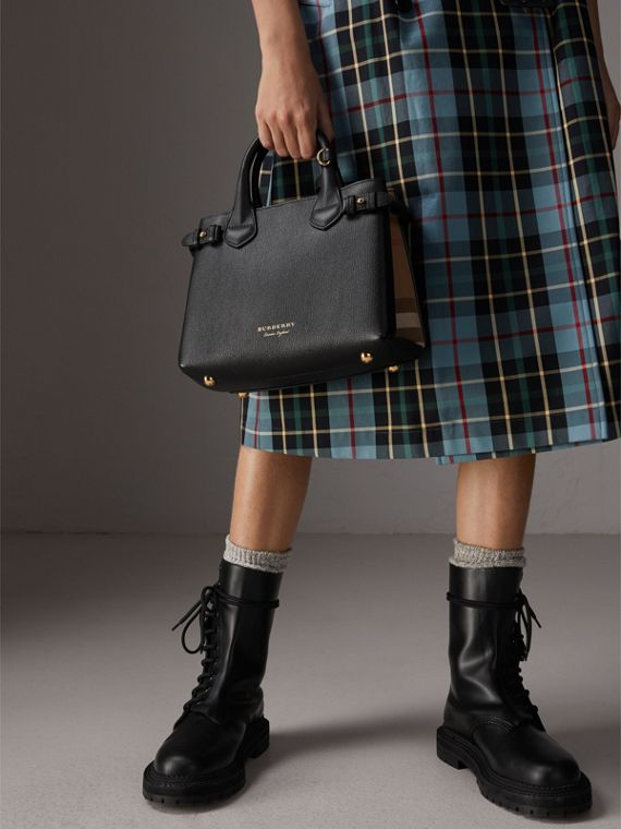The Small Banner in Leather and House Check in Black - Women | Burberry Australia - cell image 3