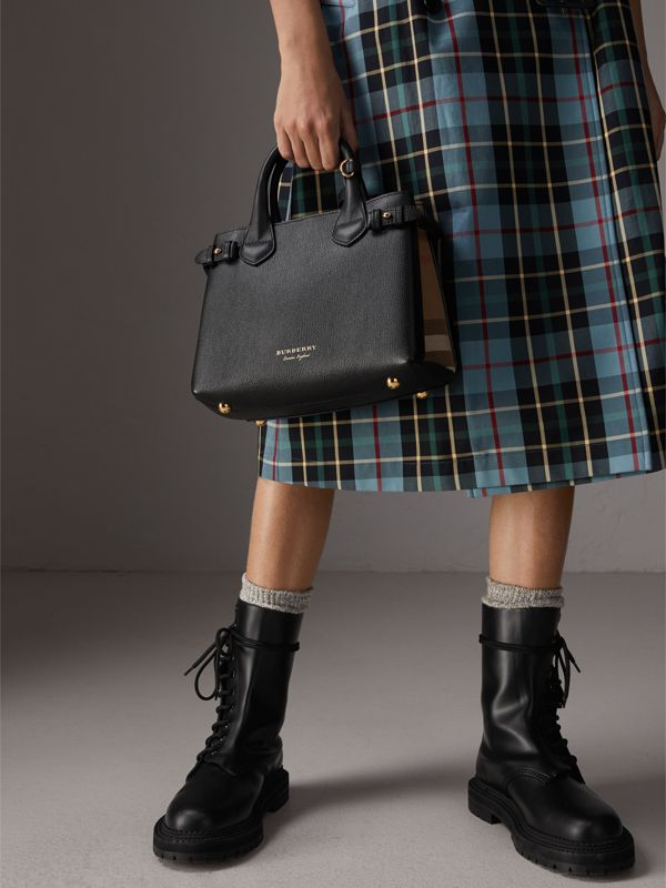 The Small Banner in Leather and House Check in Black - Women | Burberry - cell image 3