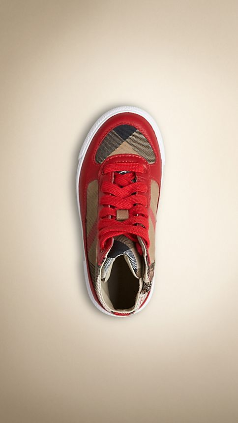 Parade red House Check Cotton High-Top Trainers - Image 3