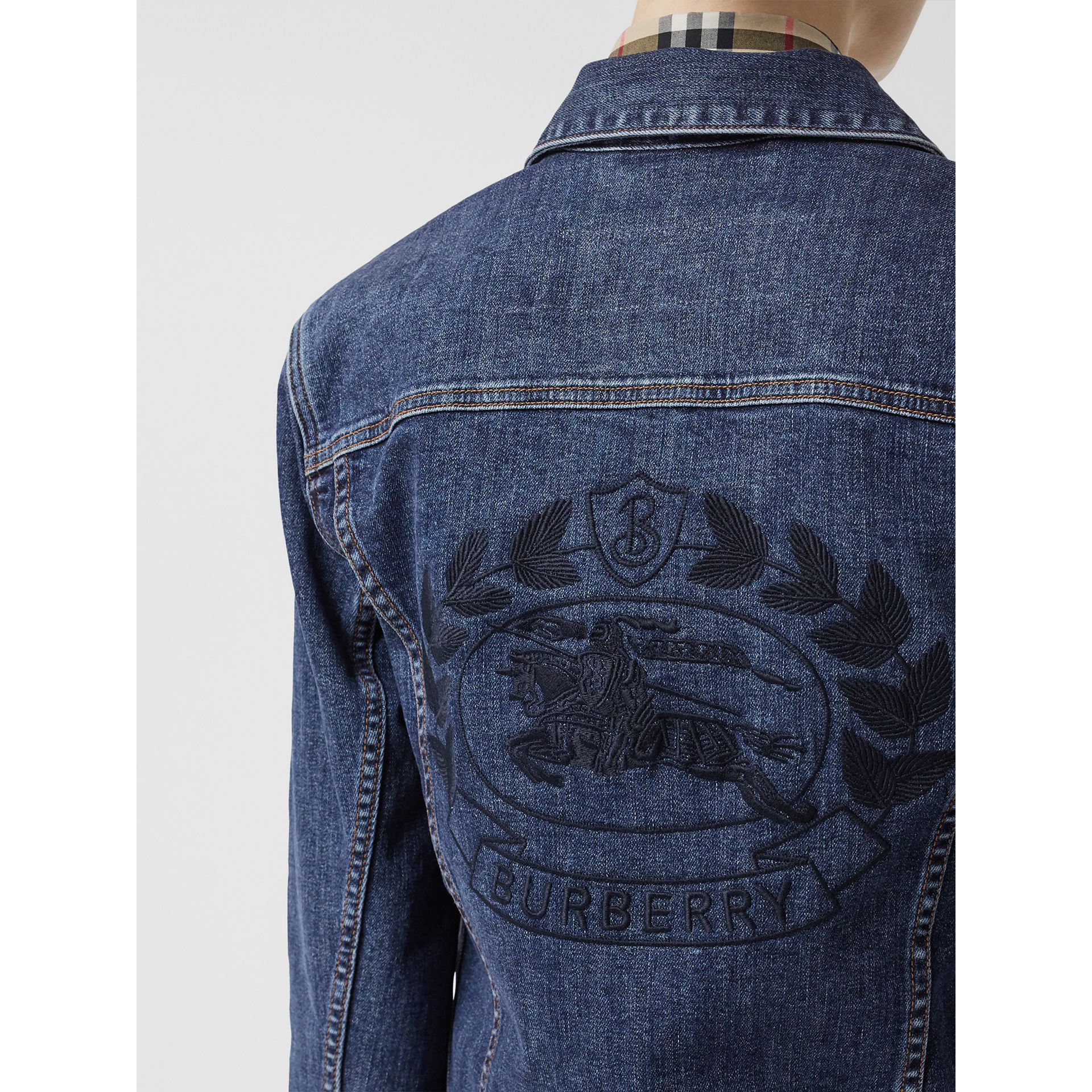 Embroidered Crest Denim Jacket in Blue - Women | Burberry United States - gallery image 1