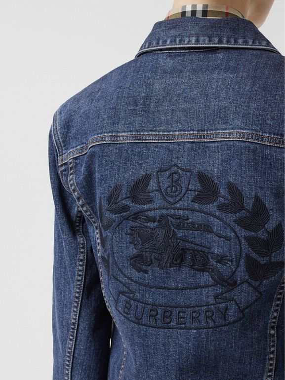 Embroidered Crest Denim Jacket in Blue - Women | Burberry United States - cell image 1