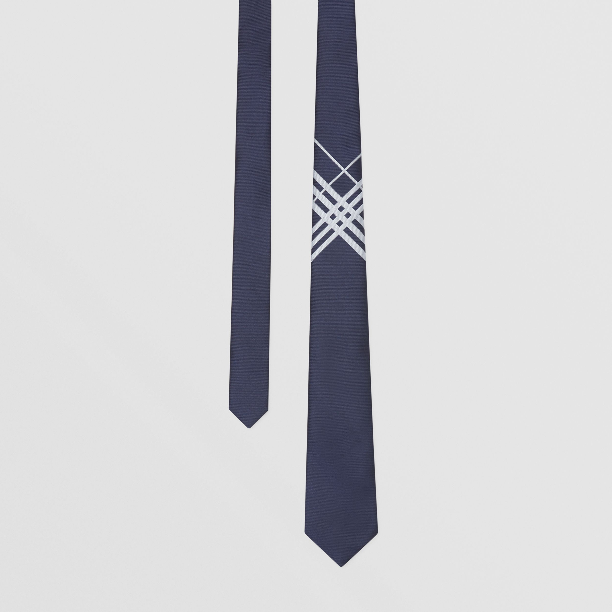 Classic Cut Check Silk Jacquard Tie in Navy - Men | Burberry - 1