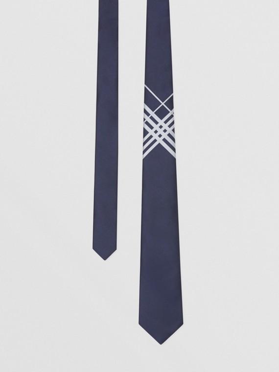 經典剪裁格紋絲質提花領帶 (海軍藍)