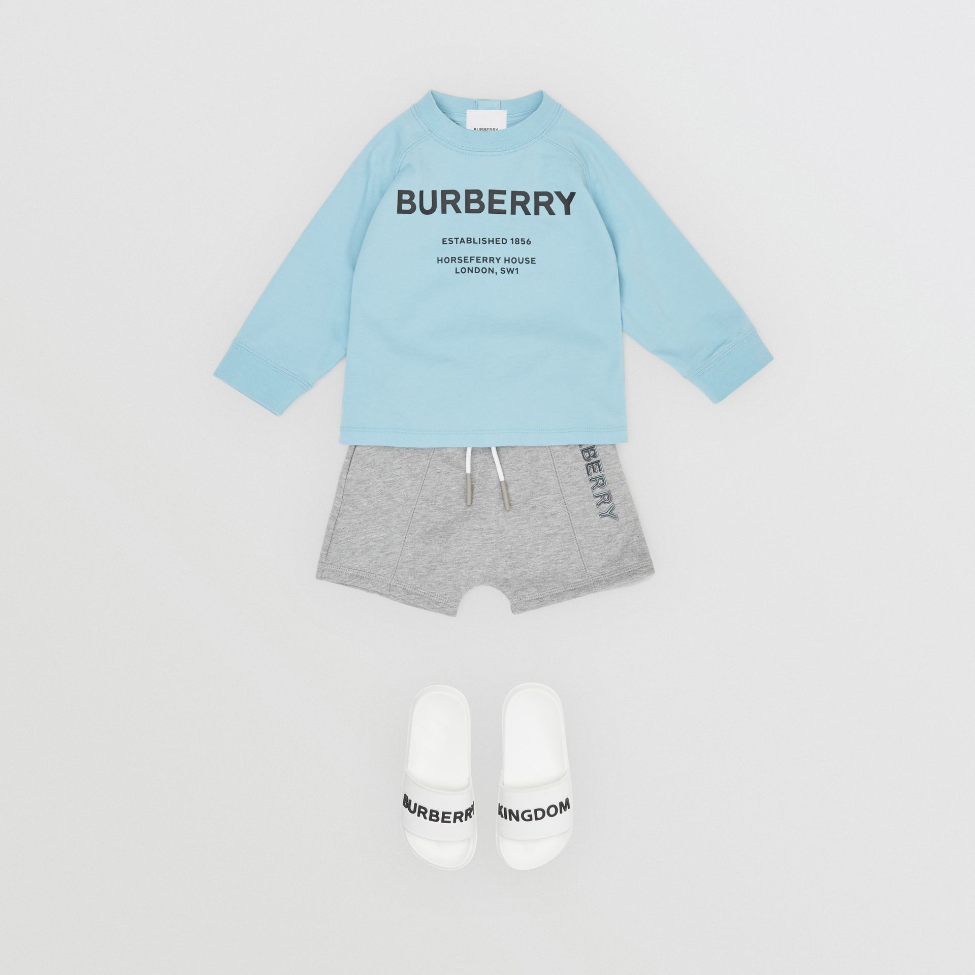 Long-sleeve Horseferry Print Cotton Top in Powder Blue - Children | Burberry - gallery image 3