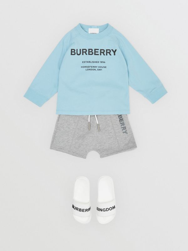 Long-sleeve Horseferry Print Cotton Top in Powder Blue - Children | Burberry - cell image 3
