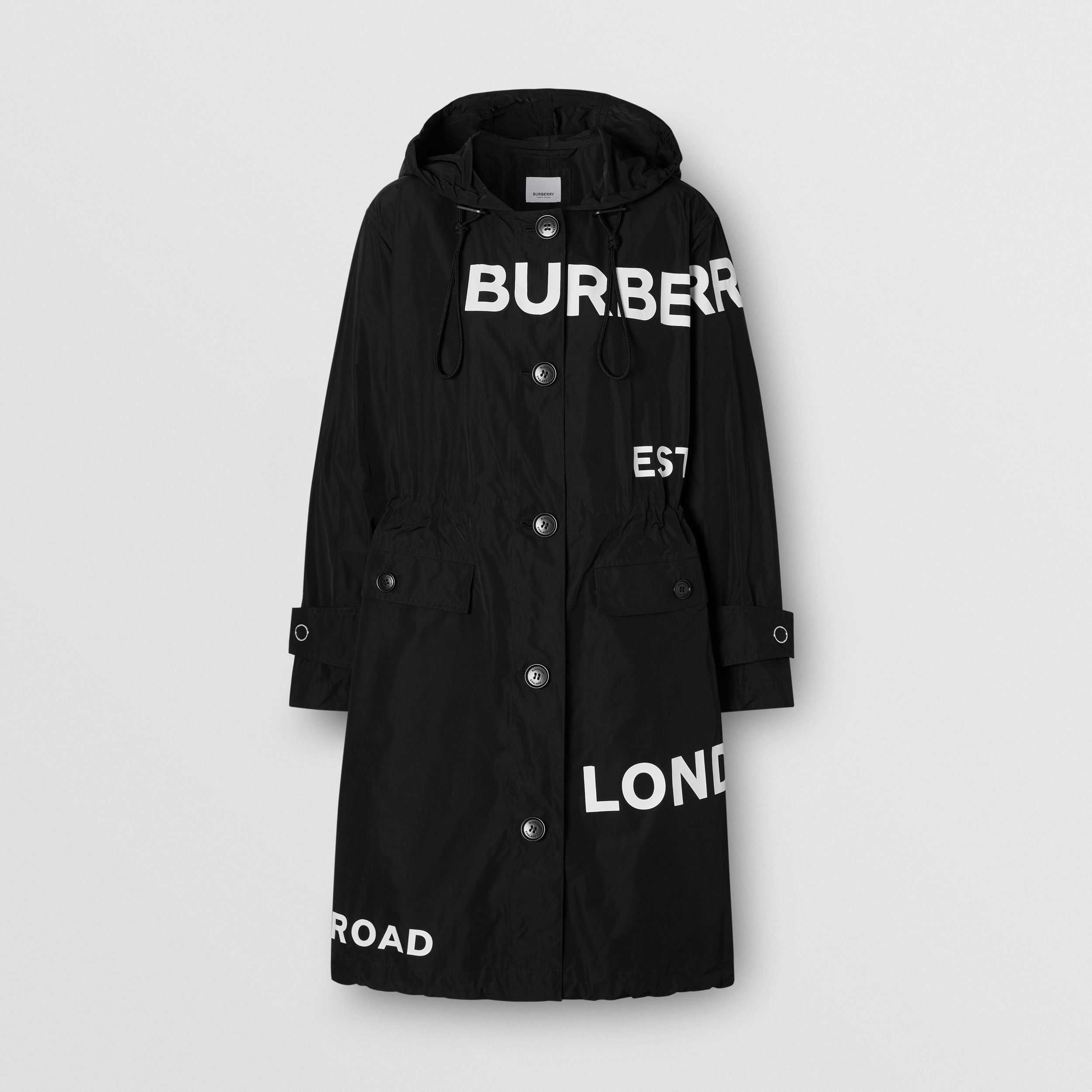 Horseferry Print Nylon Parka in Black - Women | Burberry - 4