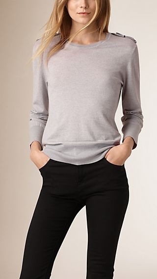 Epaulette Detail Wool Crew Neck Sweater