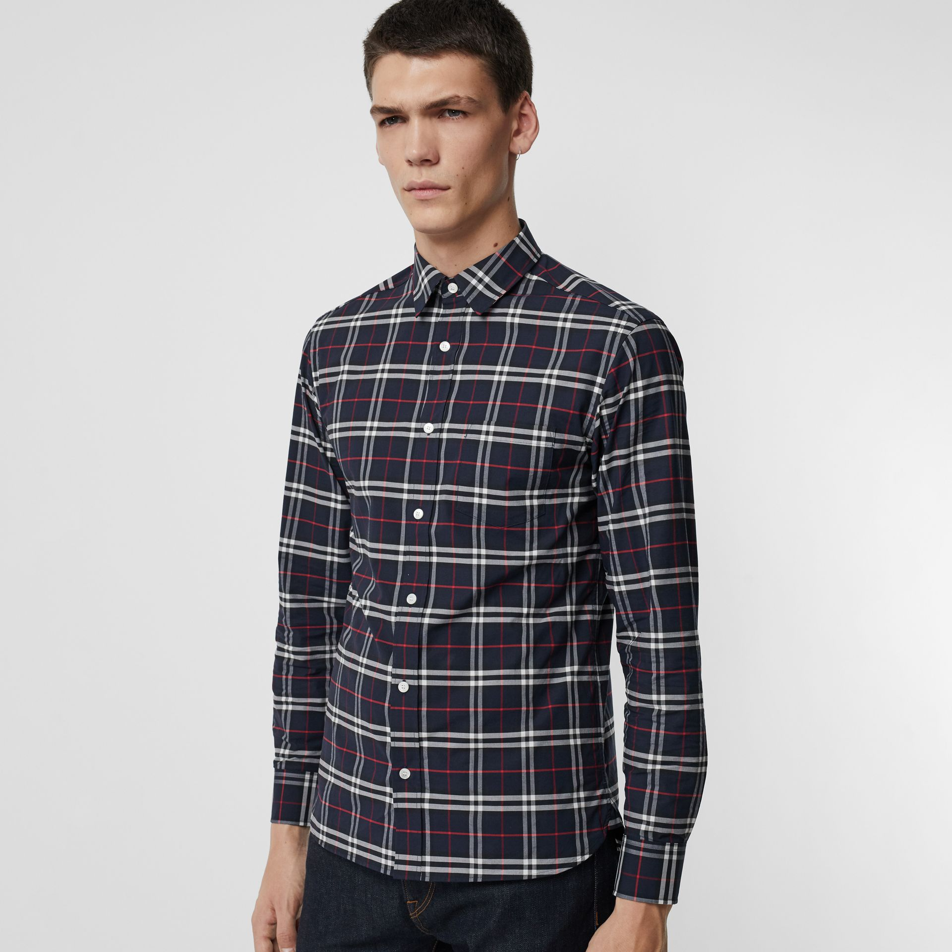 Check Stretch Cotton Shirt in Navy - Men | Burberry Canada - gallery image 0