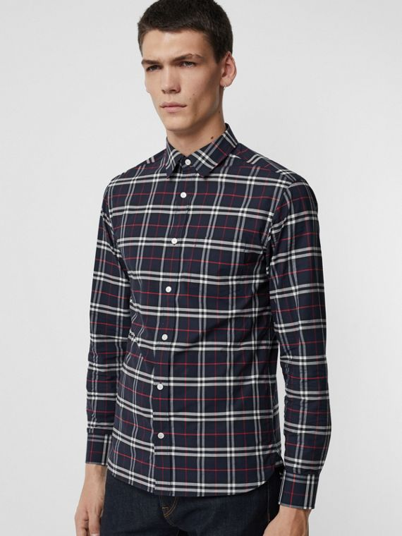 Camicia in cotone stretch con motivo tartan (Navy)