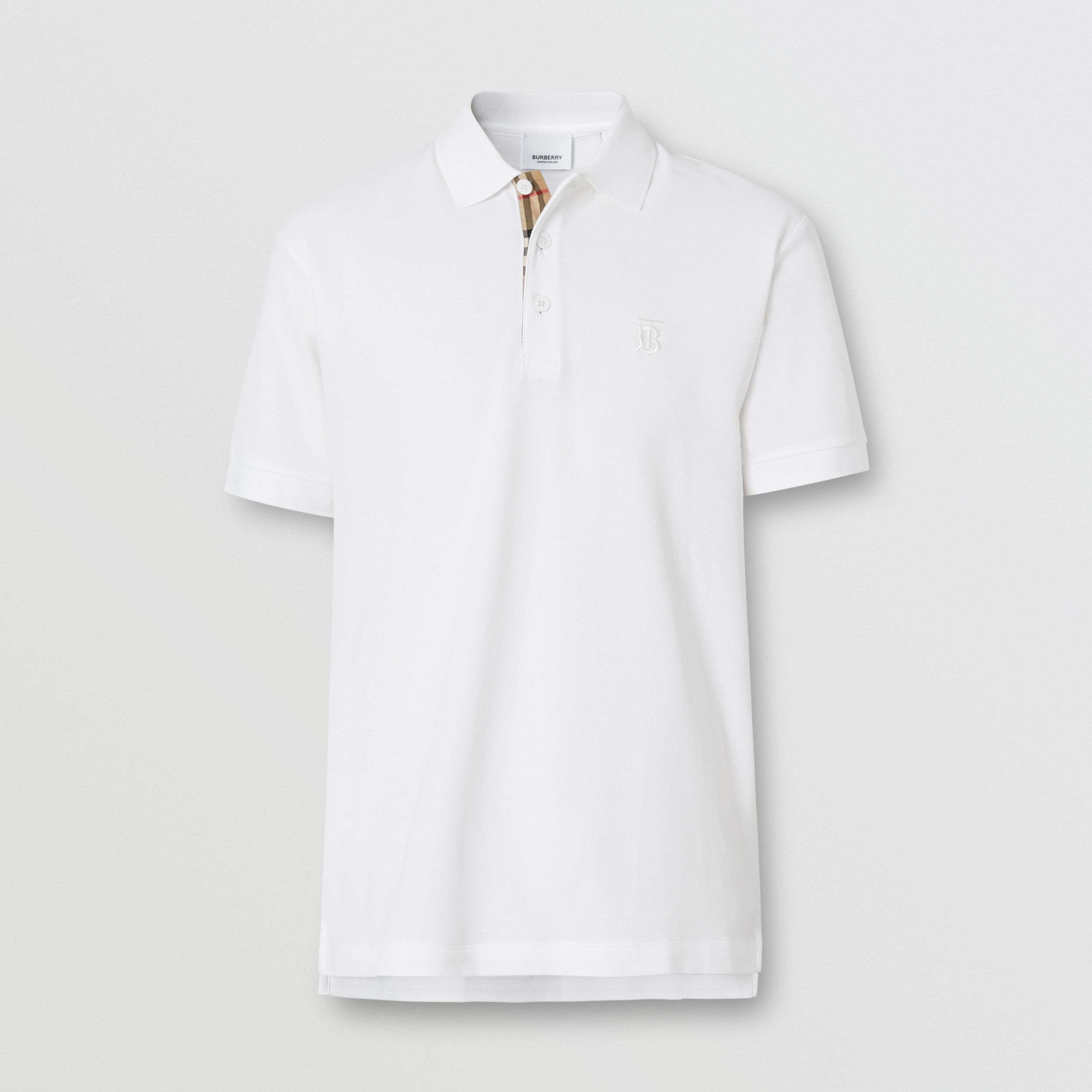Monogram Motif Cotton Piqué Polo Shirt in White - Men | Burberry - 4