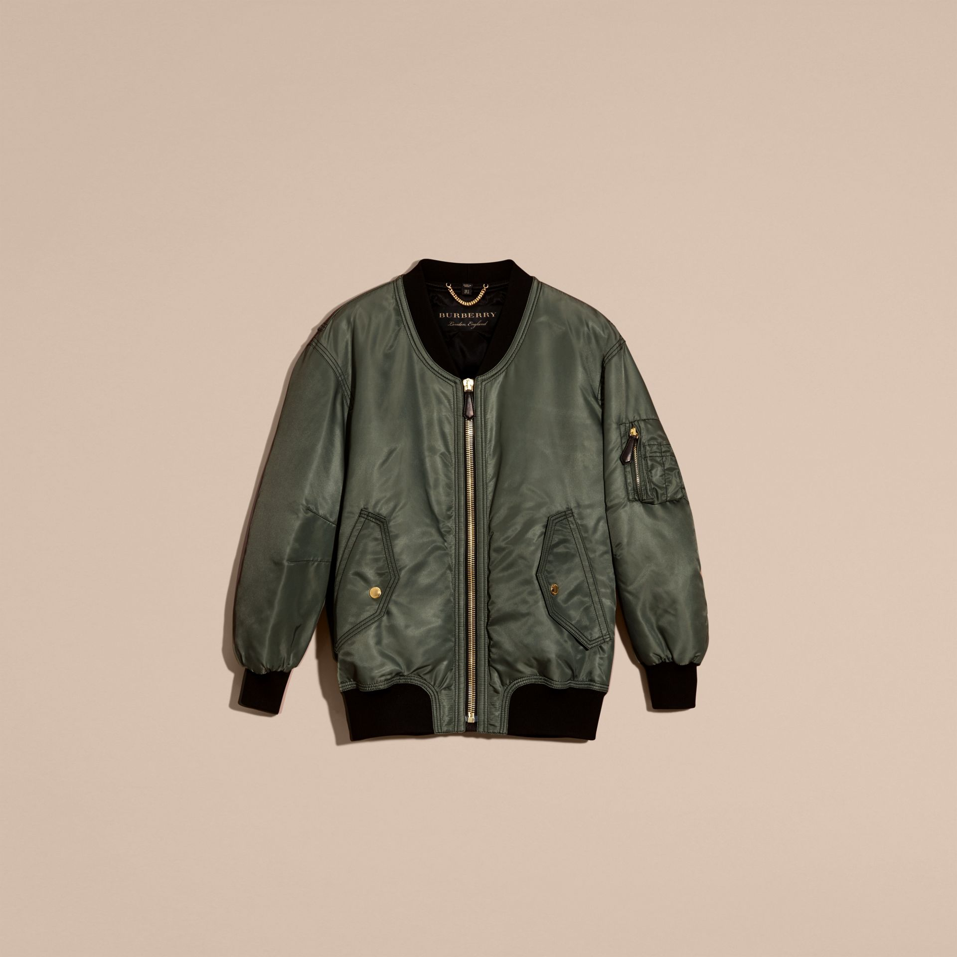Khaki green Oversize Water-repellent Bomber Jacket - gallery image 4