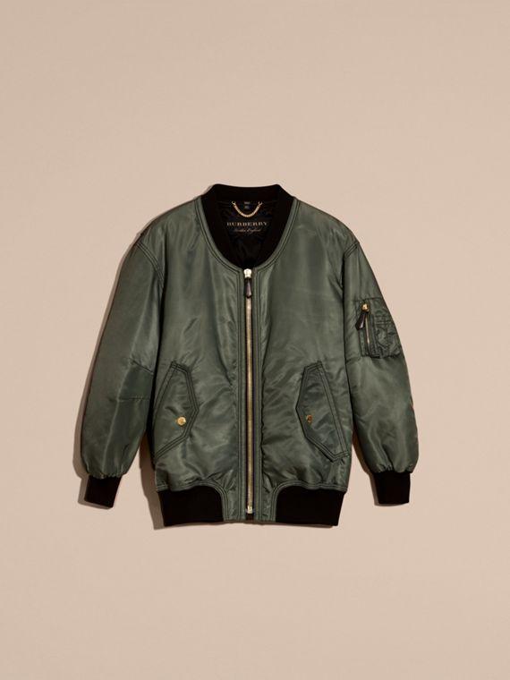 Khaki green Oversize Water-repellent Bomber Jacket - cell image 3