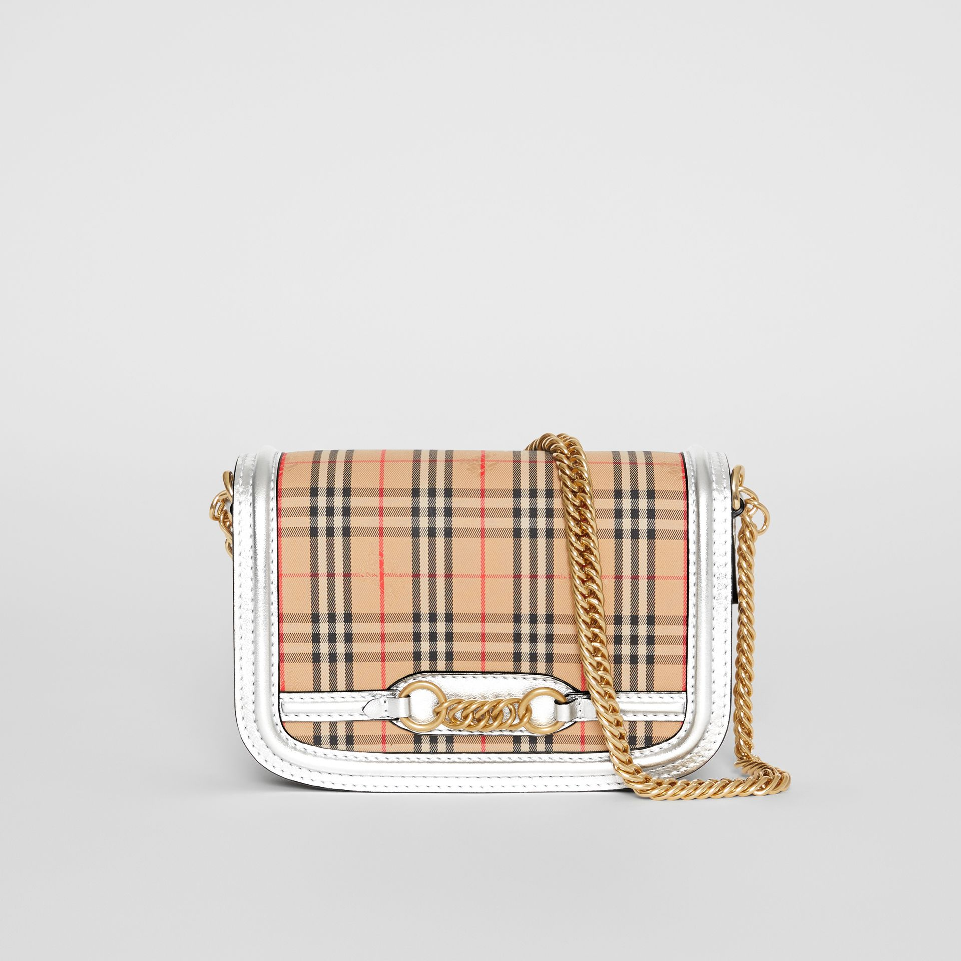 The 1983 Check Link Bag with Leather Trim in Silver - Women | Burberry United States - gallery image 0
