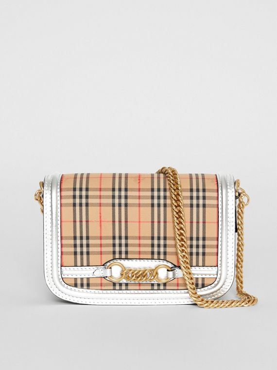 Borsa The Link con motivo tartan del 1983 e finiture in pelle (Argento)