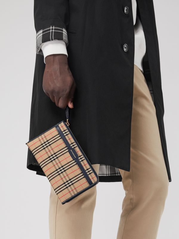 1983 Check and Leather Travel Wallet in Ink Blue - Men | Burberry Australia - cell image 3