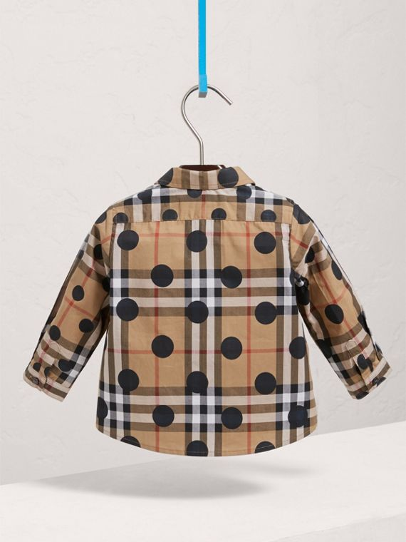 Polka-dot Check Cotton Shirt in Navy | Burberry - cell image 3