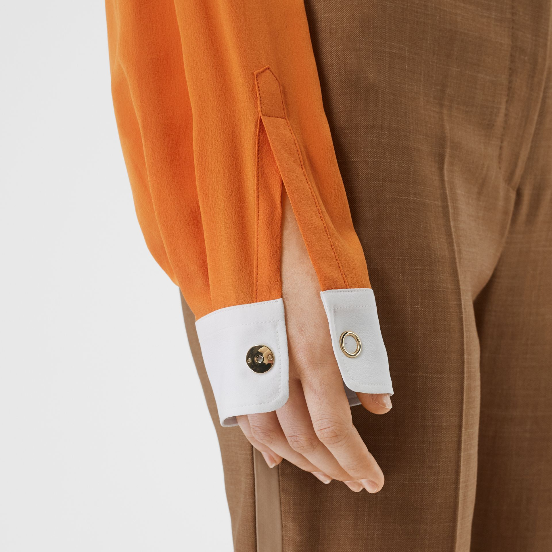 Contrast Cuff Silk Oversized Shirt in Orange - Women | Burberry - gallery image 4