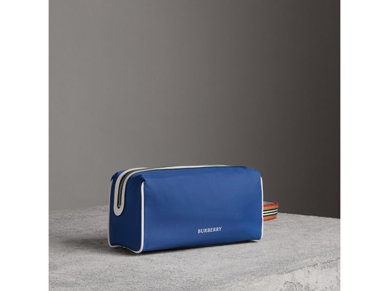 Heritage Ribbon Detail Nylon Pouch in Dark Canvas Blue | Burberry - cell image 4