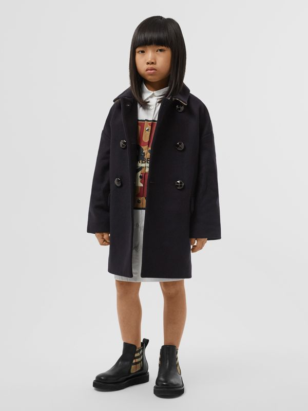 Wool Tailored Pea Coat in Navy | Burberry Singapore - cell image 2