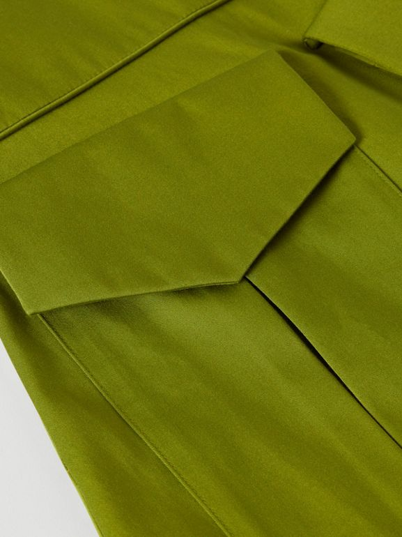 Short-sleeve Cotton Sateen Funnel Neck Dress in Bright Green - Girl | Burberry - cell image 1