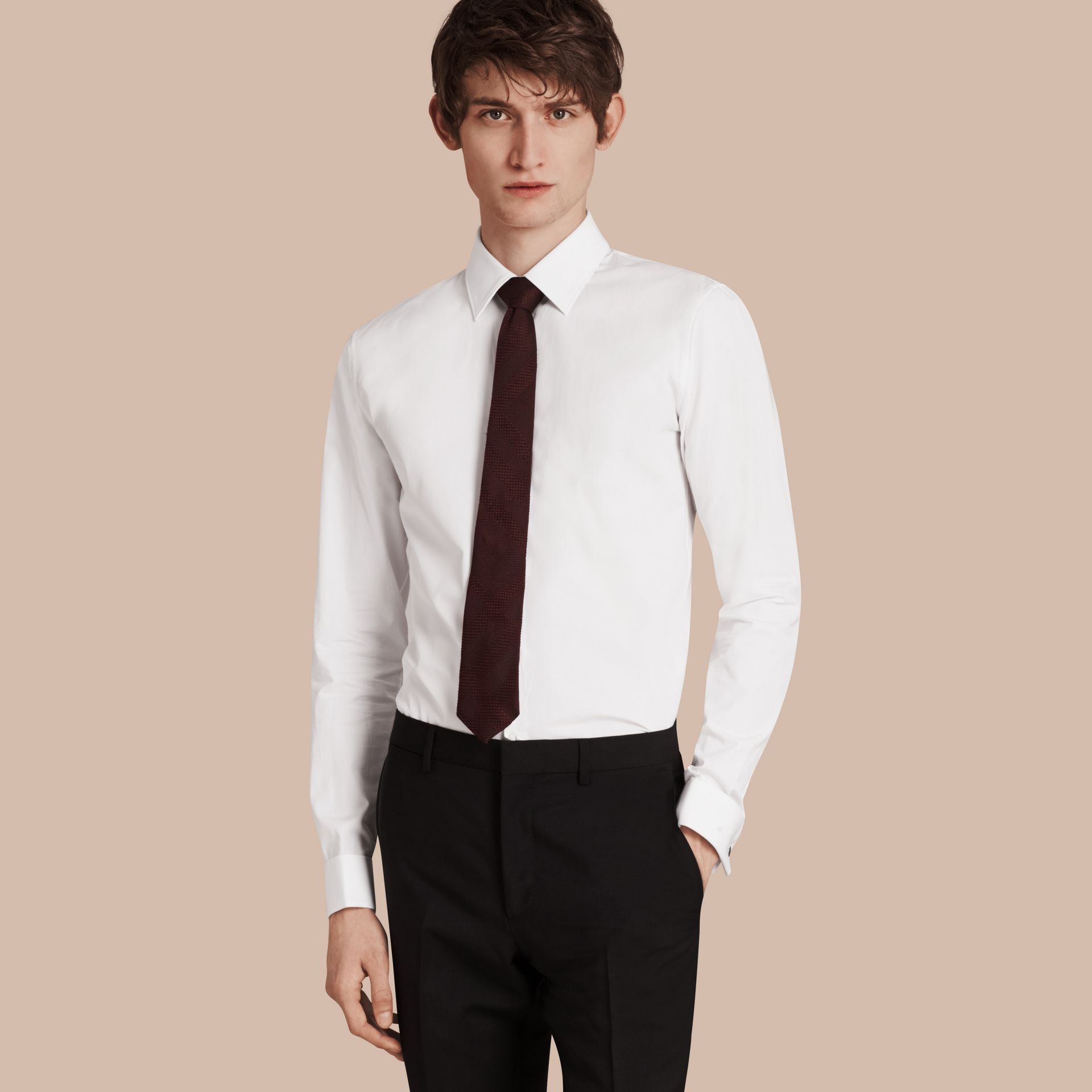 Slim Fit Double-cuff Cotton Poplin Shirt in White - Men | Burberry - gallery image 1